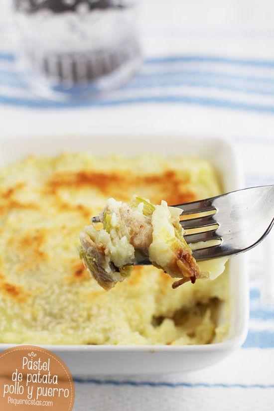 Pastel de patata, puerro y pollo