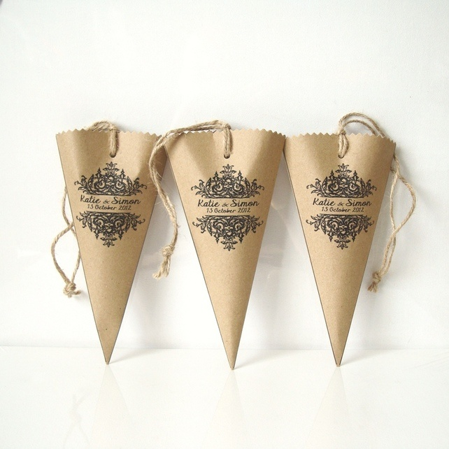 Sweet cones paper cone or cone favour set of 5 personalized £5.00 at Folksy