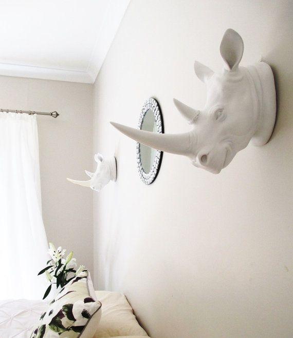 Cabezas de rinoceronte blancas Cabeza Animal Decoración
