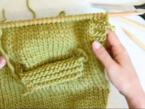 DROPS Knitting Tutorial: How to knit a pocket - on inside - YouTube