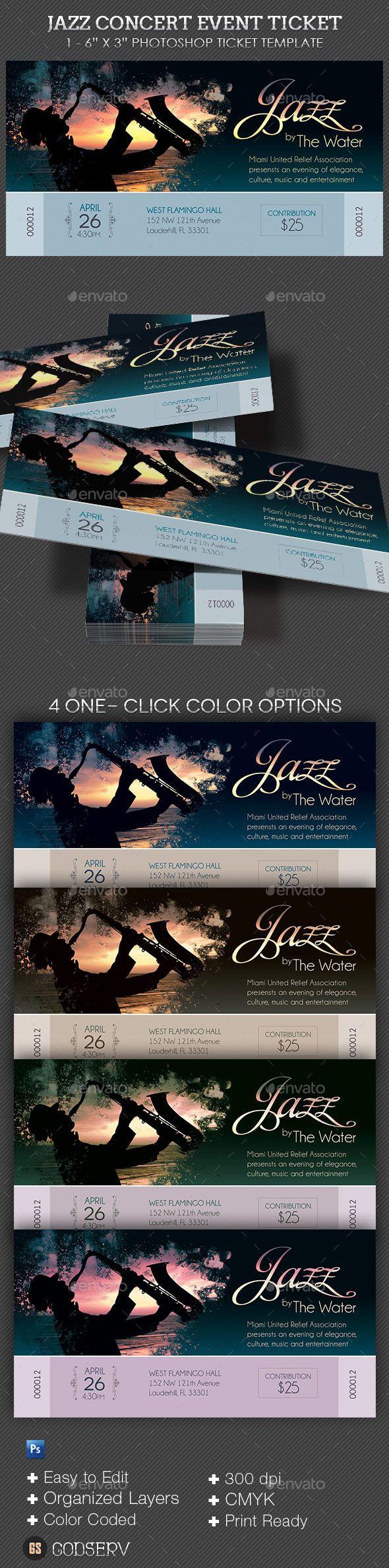 Jazz Concert Event Ticket Template PSD. Download here: https://graphicriver.net/item/jazz-concert-event-ticket/10257691?ref=ksioks