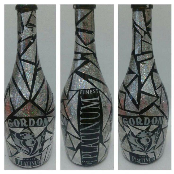 Mosaico -Collage di carta su Bottiglia (Riciclo Creativo)