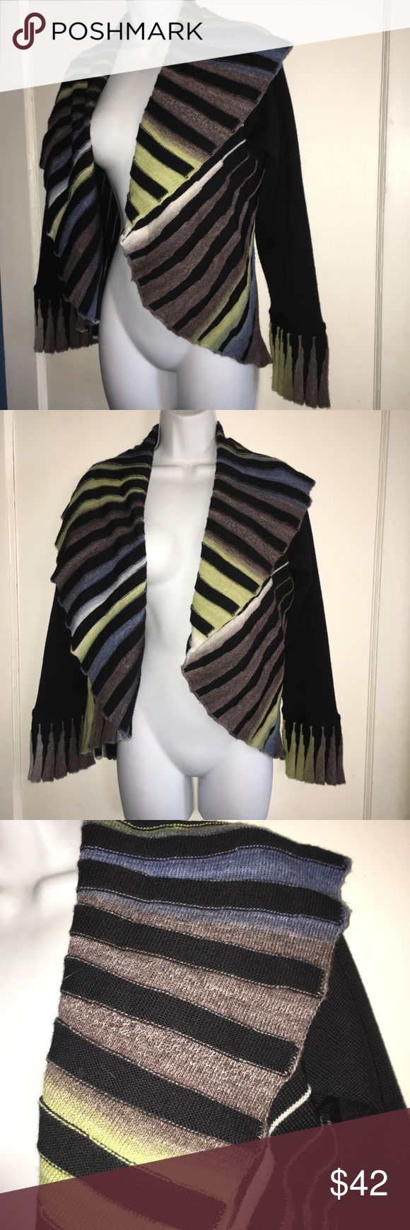Ange Sweater Open Cardigan Black Stripes Sz M Love the cool open design on this Great colors Well made Merino Wool & acrylic fiber Made in Turkey with Italian yarn angel by Sabri Ozel Sweaters Cardigans