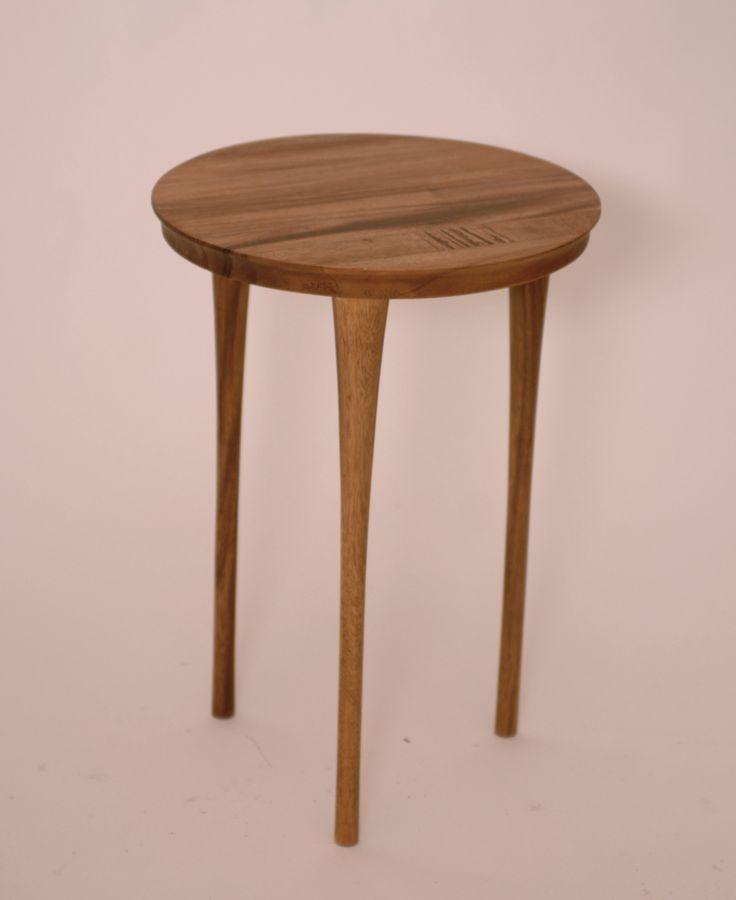 Narrow Tripod Round Top Trembesi Wood Leaf Side Table - Harrington Galleries