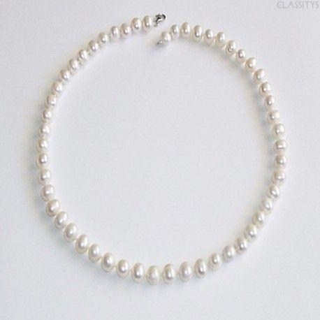 www.classitysjewel.com Genuine cultured freshwater white pearls necklace from Myanmar. Wedding/Party women. 307,00 €