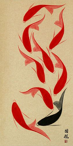 Large Nine Abstract Asian Koi Fish Wall Scroll - Asian Koi Fish Paintings & Wall Scrolls - Chinese Art