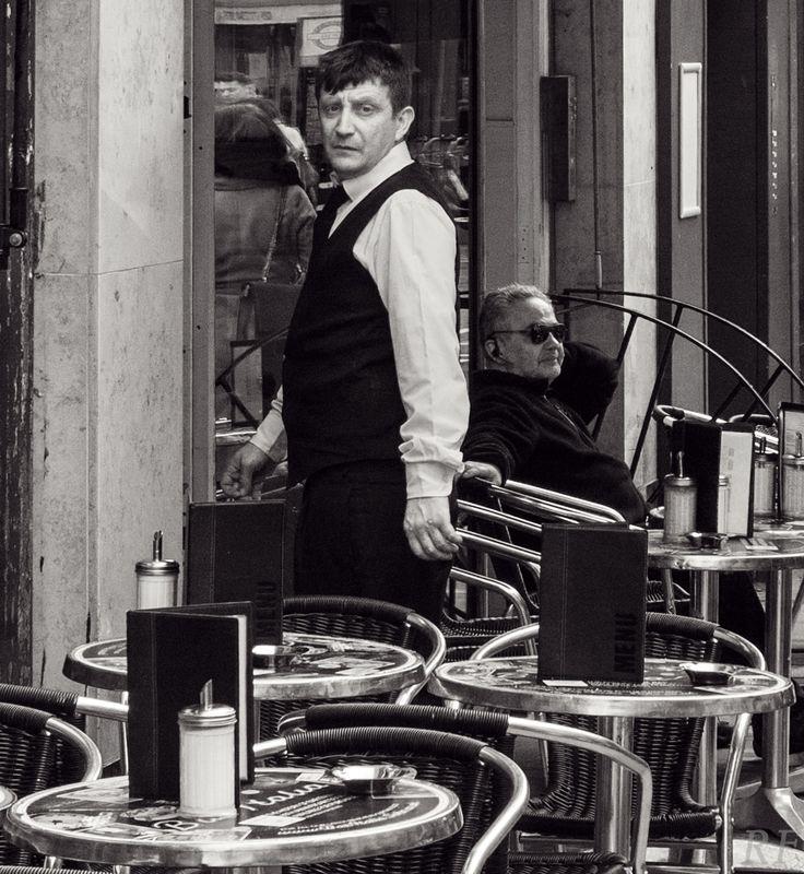 Waiter at Bar Italia, Soho. By Richard Farland.
