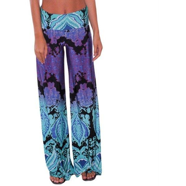 LOSRLY Women Wide Leg High Elastic Waist Printed Boho Palazzo Pants... ❤ liked on Polyvore featuring pants, boho palazzo pants, plus size palazzo pants, plus size wide leg trousers, white pants and wide-leg pants
