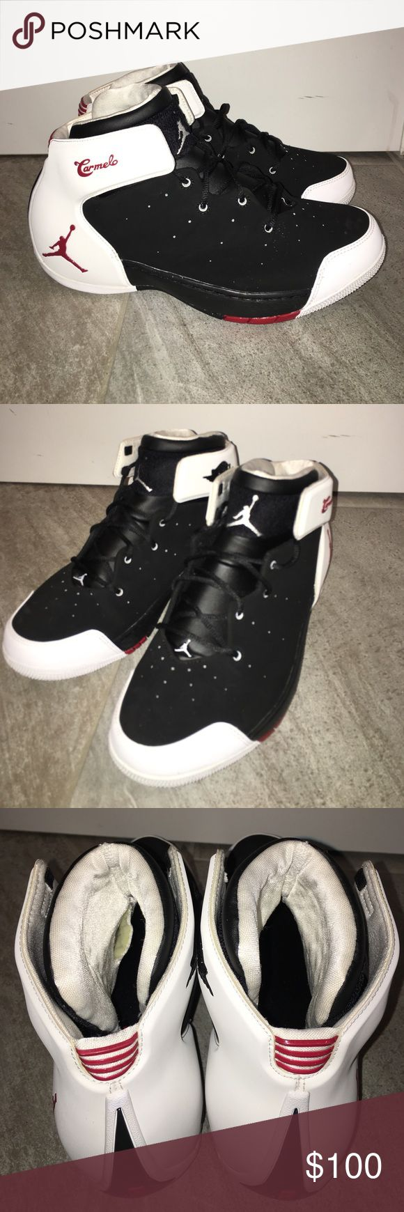 JORDAN MELO Jordan Melo 1.5 Color: Black/Gym Red-White Style Code: 631310-001 Release Date: February 1, 2014 Men's Sz 9 small rip inside left tongue of shoe but doesn't affect wear. Hardly worn. 9/10 condition. No trades. Jordan Shoes Athletic Shoes