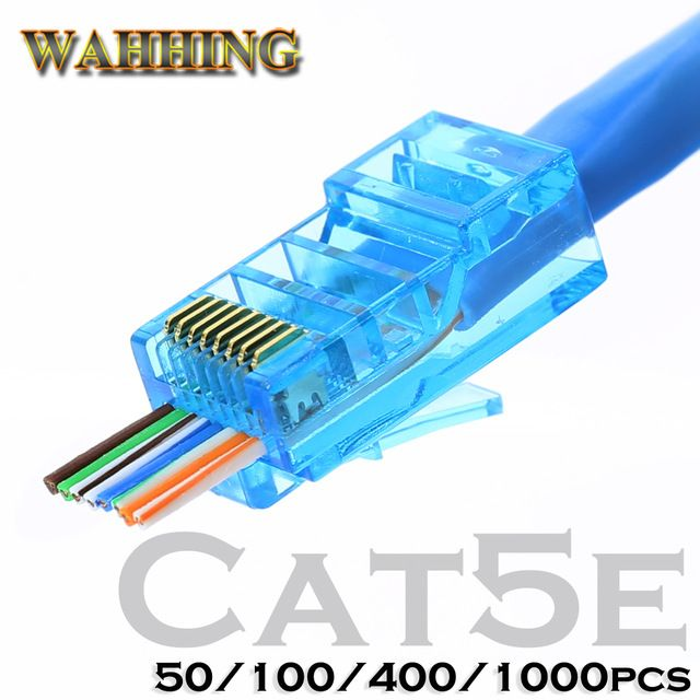 Rj45 Connector Cat5 Cat5e Network Connector 8p8c Unshielded Modular Rj45 Plug Utp Terminals Have Hole Hy1538 Review Rj45 Modular Networking