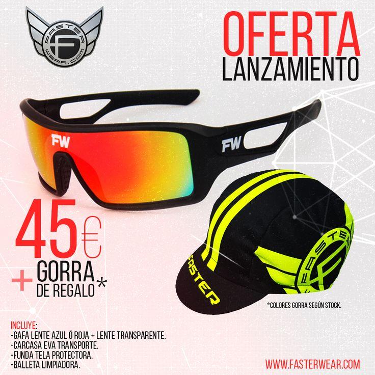 OFERTA LANZAMIENTO !!!  #Gafa FW-PROVISION:  45€ + GORRA FasterWear de REGALO.  INCLUYE: -Gafa lente azul o roja + lente transparente. -Funda eva transporte. -Bolsita tela protectora. -Balleta Limpiadora. -GORRA REGALO.  +info: http://www.fasterwear.com/