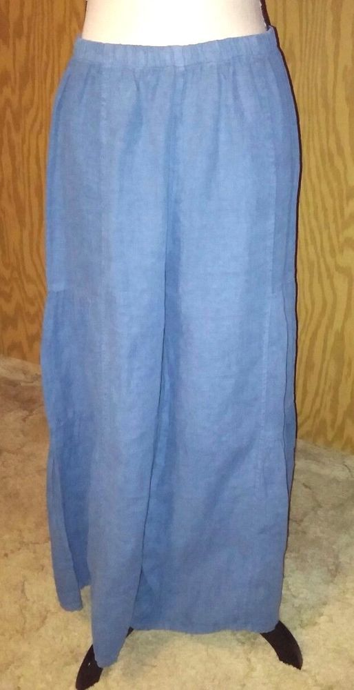 Match Point Womens Size Large Pants Linen Lagenlook Blue Cha Cha Extra Wide Leg #MatchPoint #WideLeg #Casual
