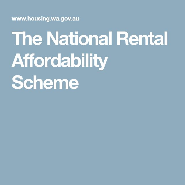 The National Rental Affordability Scheme