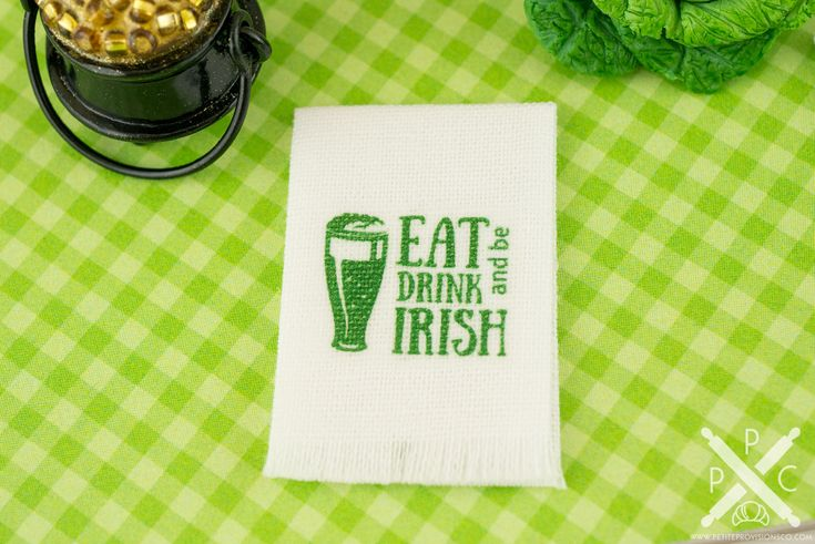 Decorate your mini kitchen and celebrate St. Patrick's Day with this darling little tea towel! This is a white tea towel featuring an Eat Drink and Be Irish design. Whether you have a dollhouse or just love all things tiny, this wee kitchen decoration is too cute to resist!