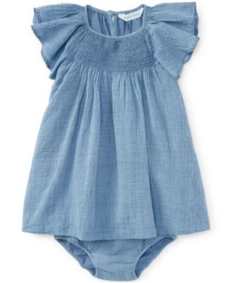 This precious chambray dress and bloomer from Ralph Lauren makes for an adorable warm-weather outfit that's great for playdates or going out to lunch with mom. | Cotton | Machine washable | Imported |