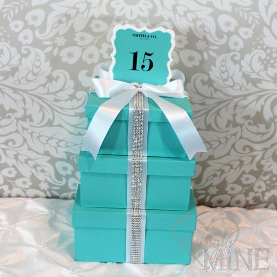 Tiffany and Co. Box Centerpieces | Tier Boxes with Custom Table Number Signs Centerpiece - Tiffany & Co ...