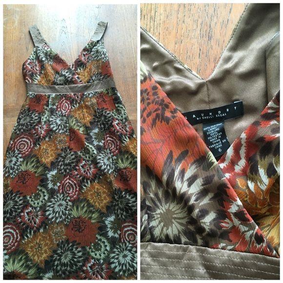 Laundry silk/chiffon dress Brown, orange and rush tone silk/chiffon lined Laundry Dress Laundry by Shelli Segal Dresses Midi