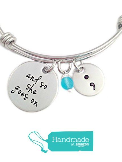 READY TO SHIP - AMAZON PRIME - And So She Goes On - Semicolon Bangle Bracelet - Hand Stamped Jewelry from Stampressions http://www.amazon.com/dp/B01BPDIZ5C/ref=hnd_sw_r_pi_dp_R8k-wb1835M54 #handmadeatamazon