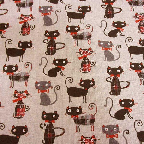 Weiteres - Stoff  Baumwolle Katzen + Karos beige rot schwarz  - ein Designerstück von werthers-stoffe bei DaWanda