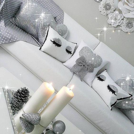 ♡ I adore the sparkly silver home decor.