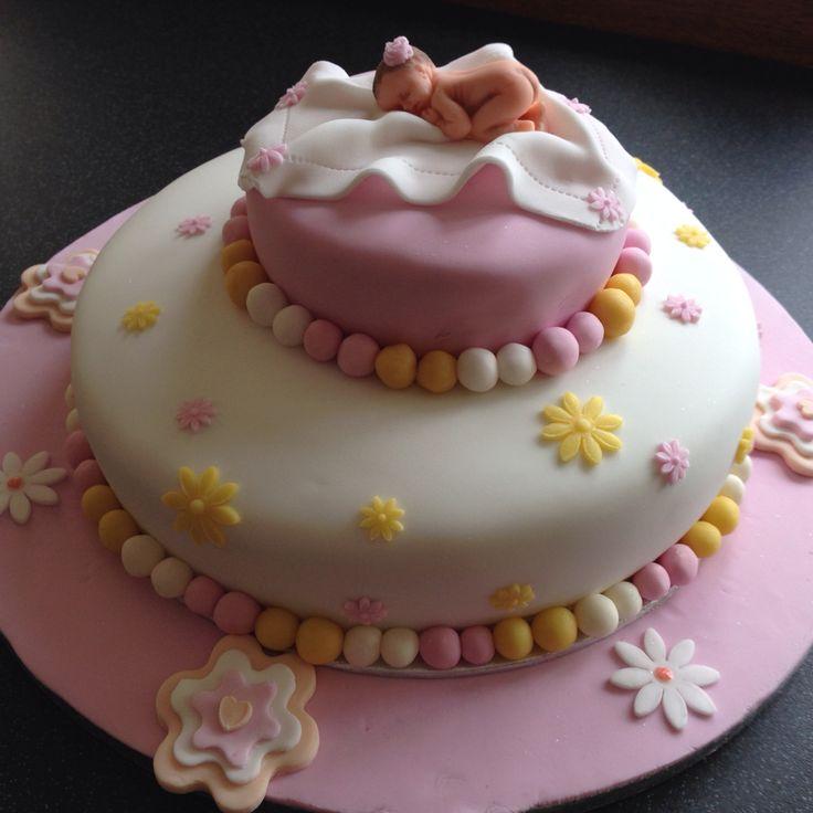 Baby girls birth cake