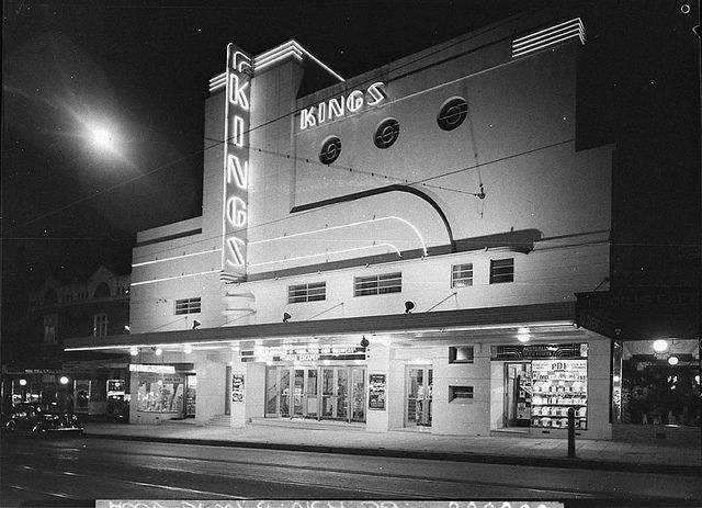 Kings Theatre at Marrickville, Sydney. Night shot showing illuminated exterior, 1937 / photographer Sam Hood by State Library of New South Wales collection, via Flickr