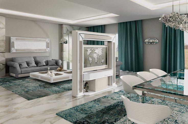 Vismara Design Revolving Tv Stand Millerighe edition. Motorized tv stand for middle-room; tv sviwels 360° controlled by remote.