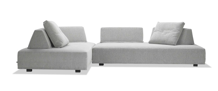 """Playground sofa by Eilersen of Denmark.  Fun, functional, slipcovered sofa.  Moveable backrests allow you to create your own seating arrangements.  Sold individually or combine two or three to make a sectional.  85 x 45"""", reversable.  In stock in 3 fabrics or custom order.  www.pomphome.com"""