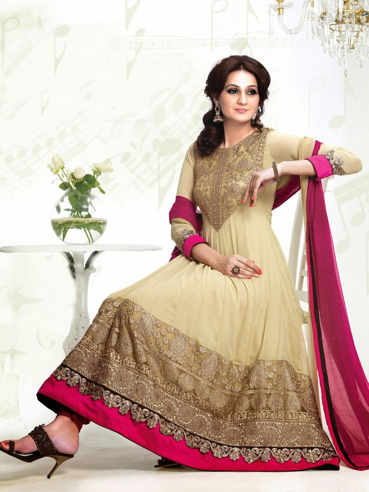 USD 101.58 Beige Georgette Karachi Work Ankle Length Anarkali Suit 40013