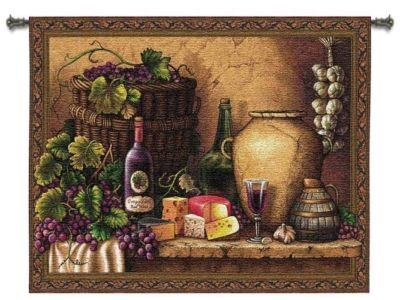 Vintage Wine Tuscan Pottery Art Tapestry Wall Hanging
