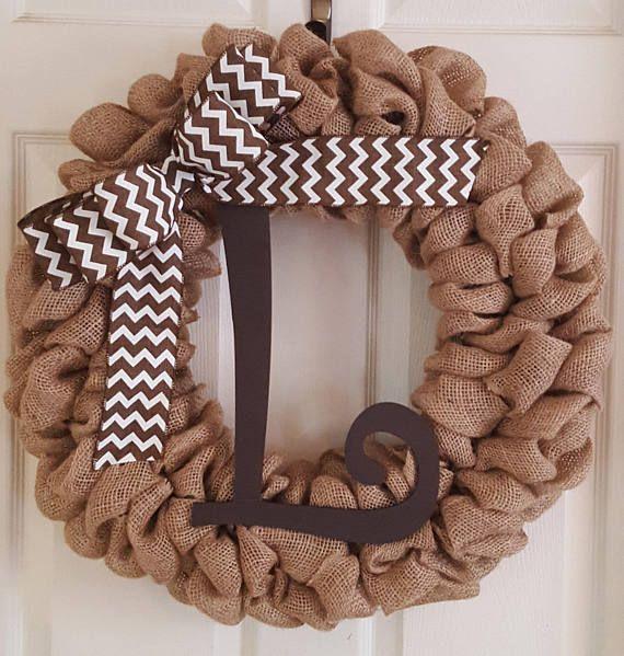 Monogram Wreath Burlap Monogram Wreath Brown Burlap Wreath