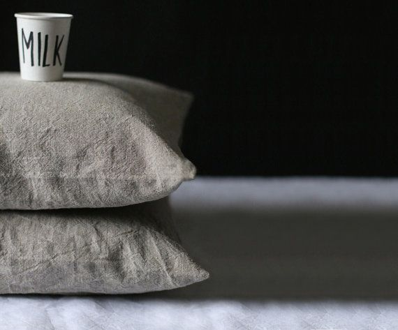 Natural grey linen pillow cover Decorative by MadameLampiere