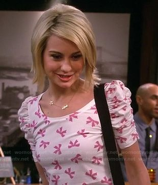 Riley's pink bow print top and love/star necklace on Baby Daddy.  Outfit Details: http://wornontv.net/17750/ #BabyDaddy #ABCFamily