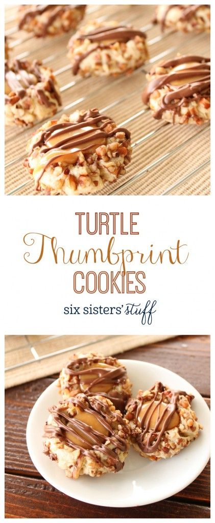 Thumbprint Cookies from @sixsistersstuff | Our grandma makes the best thumbprint cookies! We shared her recipe a few years ago, and still can't get enough of it! Every year around the holidays we love making her thumbprint cookies and sharing them with our neighbors and friends. This year we decided to put a little twist on her cookies, and these delicious Turtle Cookies were the result! These are the perfect cookies to share with your family and friends this year, or to keep all to yourself
