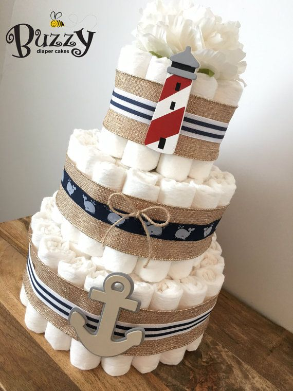 Rustic Nautical Diaper Cake, Nautical Baby Shower, Ahoy It's a Boy, Shower Centerpiece, Boy Diaper Cakes