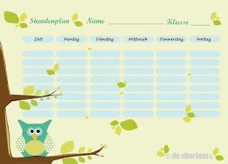 Ein kostenloser Stundenplan zum Ausdrucken für die Schulmäuse :-)