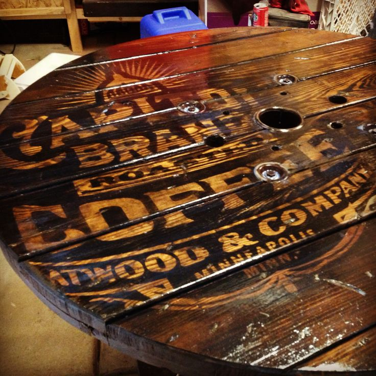 This wire spool converted to table, was re-purposed by me in an effort to make a rustic/modern piece of furniture. I added the 50's style coffee can graphic in a subtle reversed stain effect. The t...