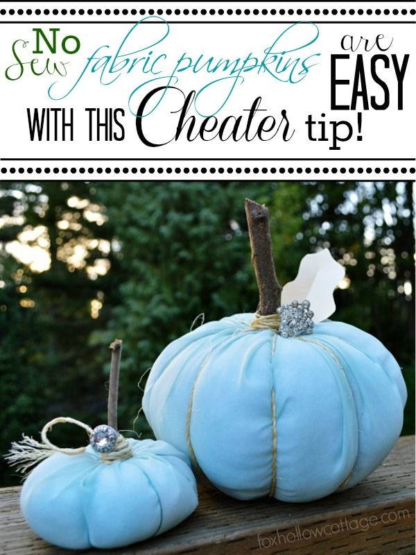 Easy No Sew Fabric Pumpkin Craft! Cover foam pumpkins with extra stuffing and fabric.