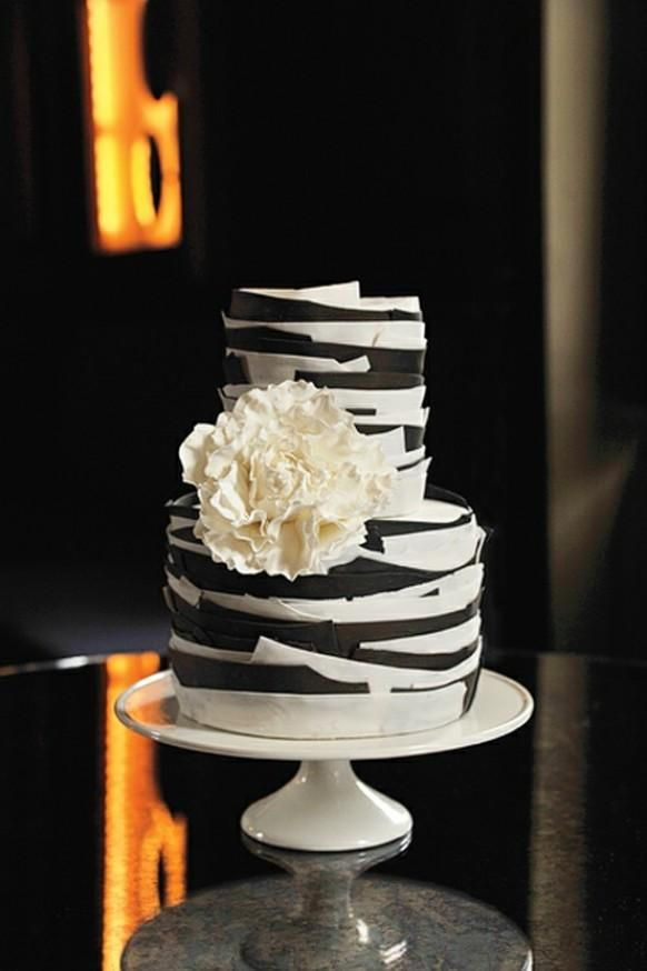 Graphic black and white fondant cake with a sugar peony. Maggie Austin Cake, Washington, DC