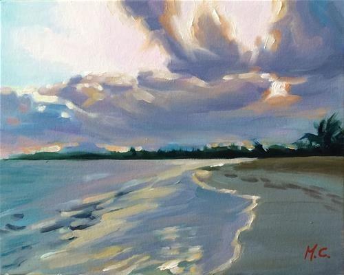"Daily Paintworks - ""Sunset beach"" - Original Fine Art for Sale - © Michelle chen"