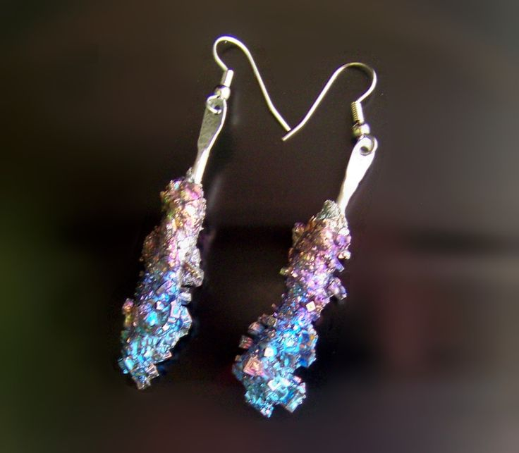 Earrings Bismuth Metal Crystal Iridescent Peacock Rainbow, Stick Earrings, Bismuth Crystal Jewelry by deleas on Etsy