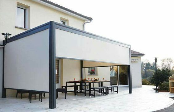 The outdoor SheerWeave roller blind from Blind Designs is a great idea for outdoor entertainment