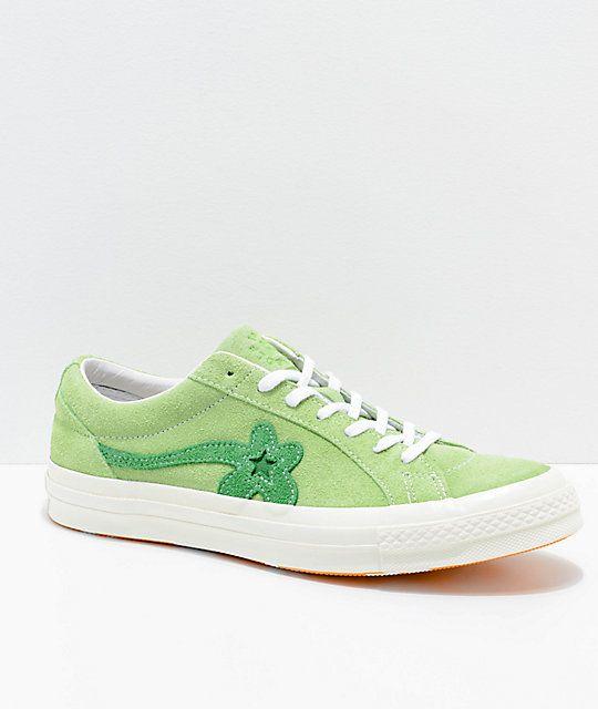 4a61c1c37422 Converse x Golf Wang One Star Le Fleur Jade Lime Shoes in 2019 ...