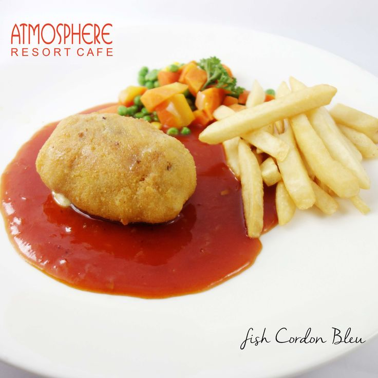readed snapper stuffed with mozarella & smoked beef, served with french fries & regular vegetables, in BBQ sauce