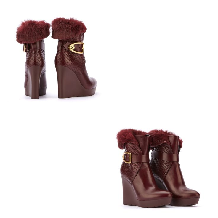 FABI WINTER SHOES 2014-2015 Soft leather wedge-heeled short boots with quilted-effect embossed leather details. Ankle strap with gold-finish metal custom buckle. Rabbit fur cuff. Rubber wedge sole, heel 90 mm. Color RED PURPLE Material OVINE LEATHER