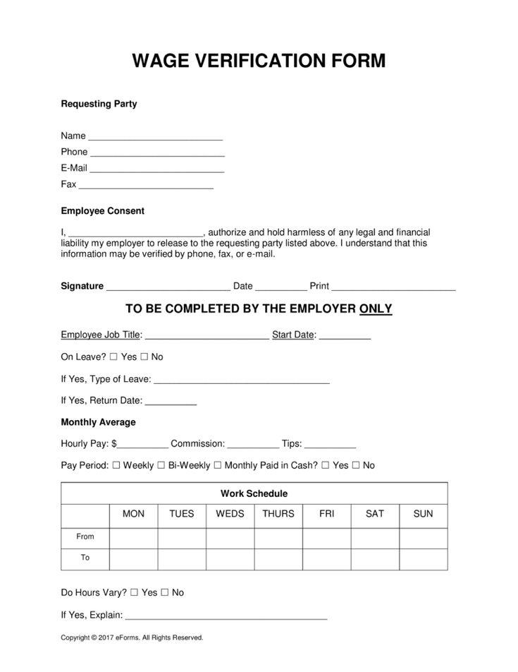 Free wage verification form pdf word eforms free