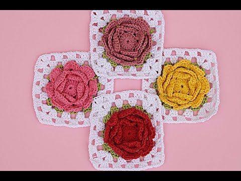Cuadro de flores a crochet gramy square #tutorial #pasoapaso