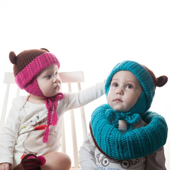 Blue Bear Baby Knit Set: Brown Crochet Animal Hat by OneHatStore