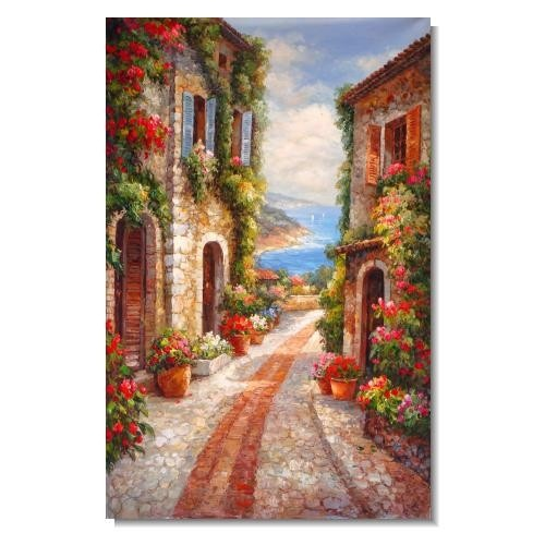 Mediterranean Old Street in Spring Flowers Impressionist Landscape Oil Painting Canvas Art