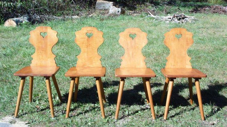 Antique Set Of 4 Early Conant Ball Solid Maple Country Farmhouse Dining  Chairs. Bauernhaus EsszimmerstühleModerne StühleAntike MöbelMitte Des  Jahrhunderts
